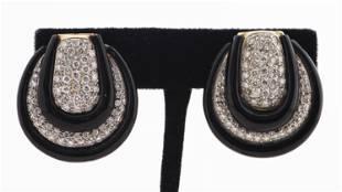 18K Yellow Gold Diamond & Onyx Clip Earrings