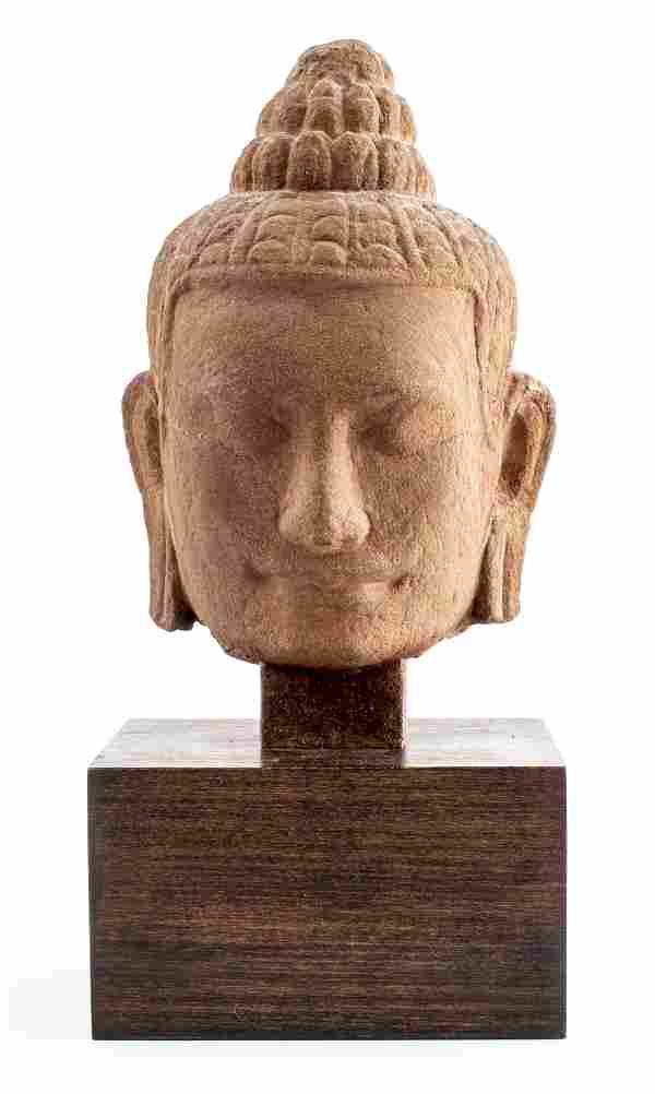 Khmer Sandstone Buddha Head Sculpture