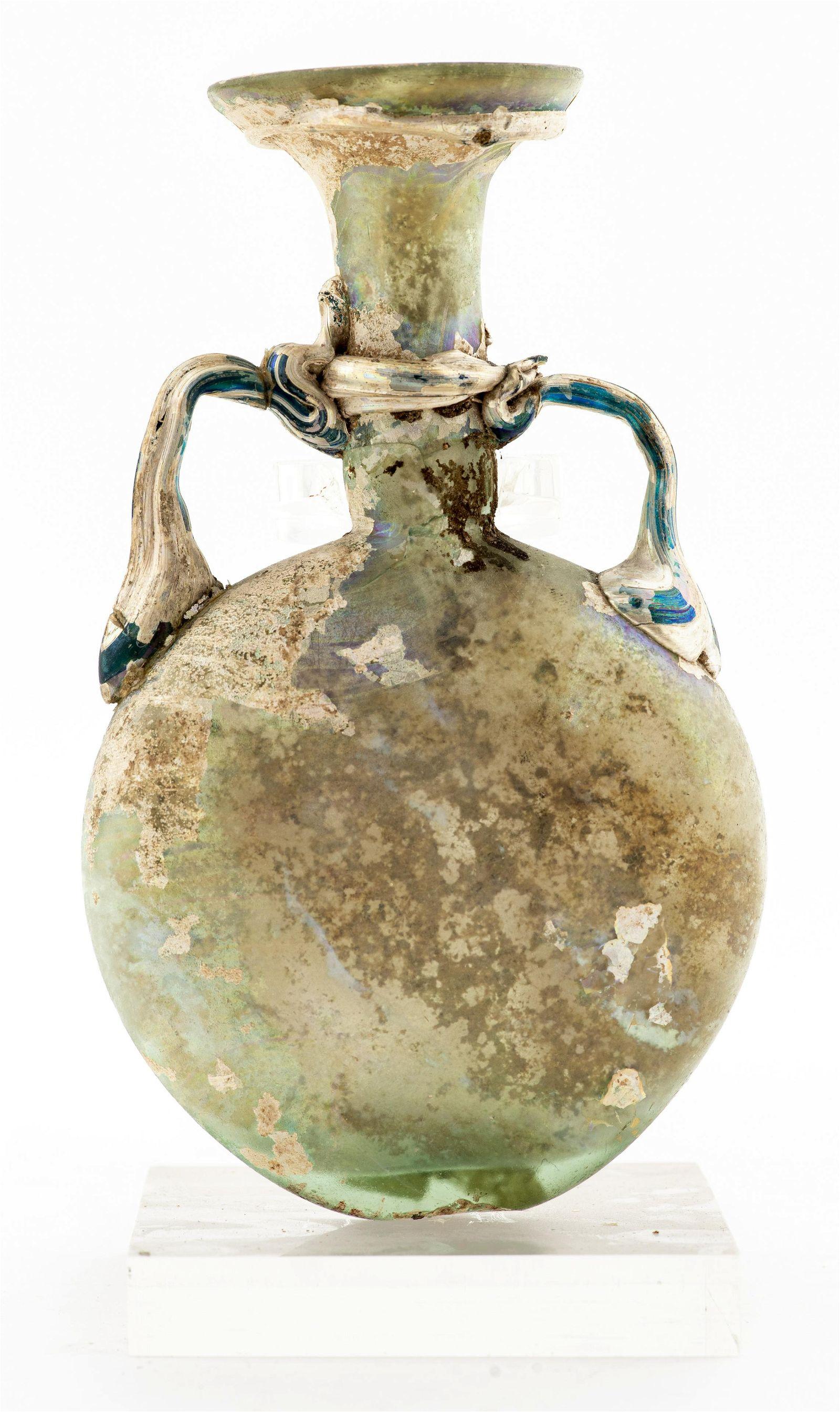Ancient Roman Glass Moon or Pilgrim Flask