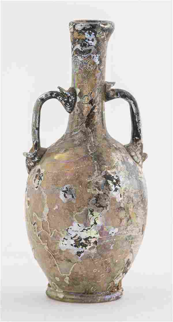Ancient Roman Glass Vase With 2 Handles