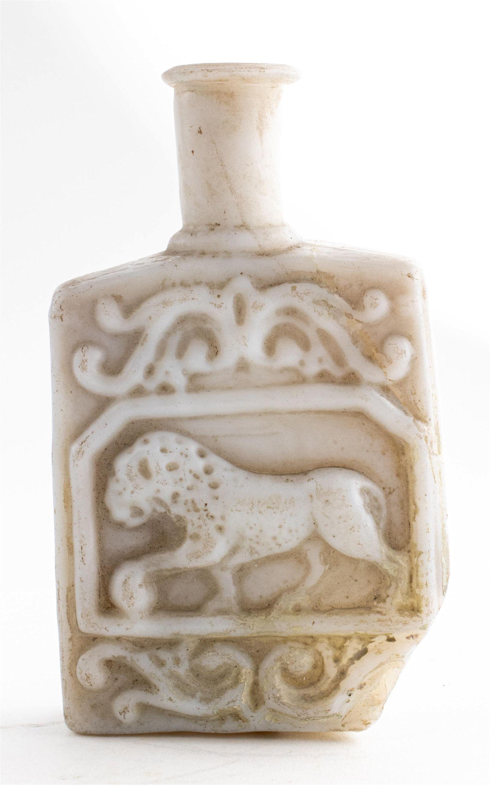 Ancient Roman White Paste Glass Bottle