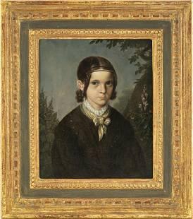 British School Portrait of a Girl Oil on Panel