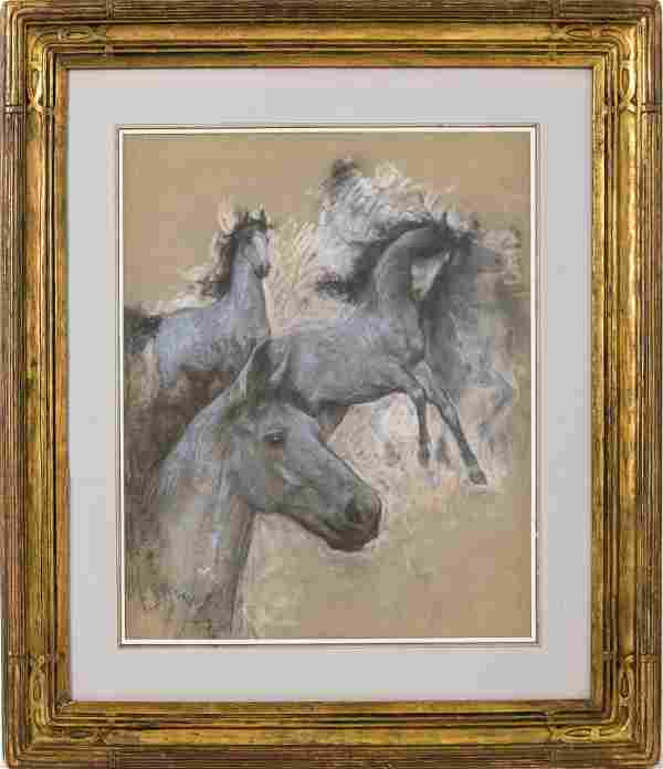 """Lucien Levy-Dhurmer """"Horses"""" Pastel on Paper"""