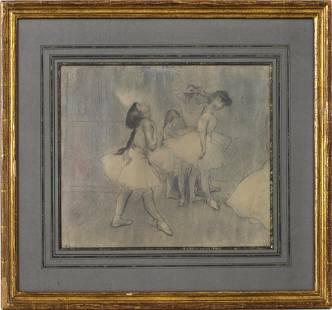 "Louis Legrand ""The Ballet Class"" Pastel on Paper"