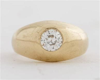Vintage 14K Yellow Gold Diamond Gypsy Ring