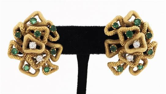 18K Yellow Gold Diamond & Emerald Clip Earrings