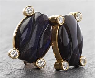 18K Gold Carved Labradorite & Diamond Cufflinks