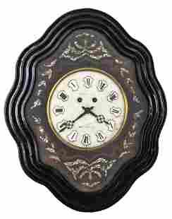 Napoleon III Shell Inlaid Ebonized Cartel Clock