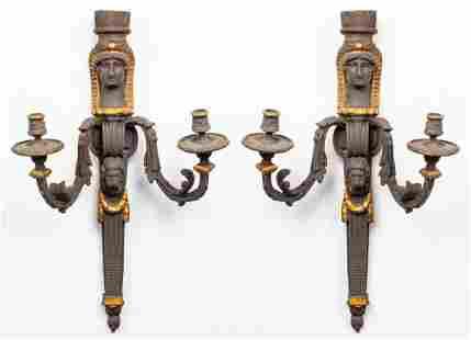 Egyptian Revival Manner Parcel Gilt Sconces, 2
