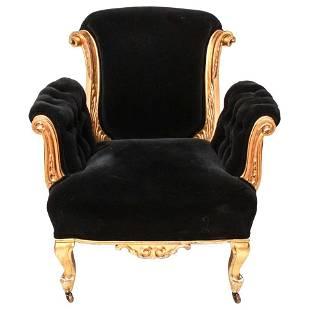 French Art Deco Manner Giltwood & Velvet Armchair