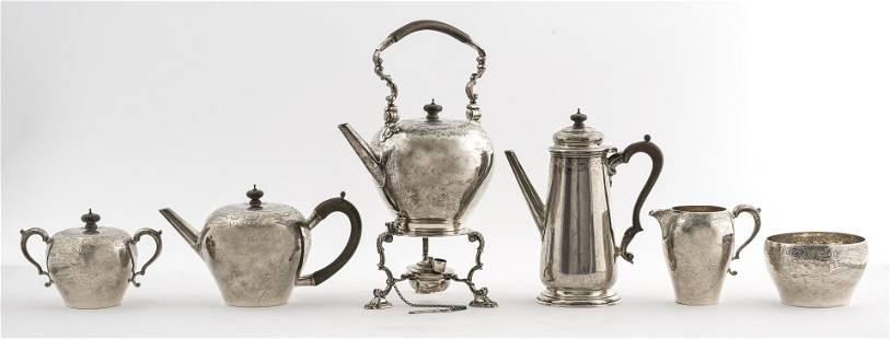 George V Sterling Silver Tea and Coffee Service, 6