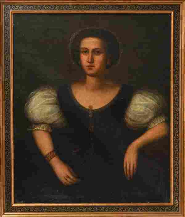 Continental School Portrait of a Woman 19th C. Oil