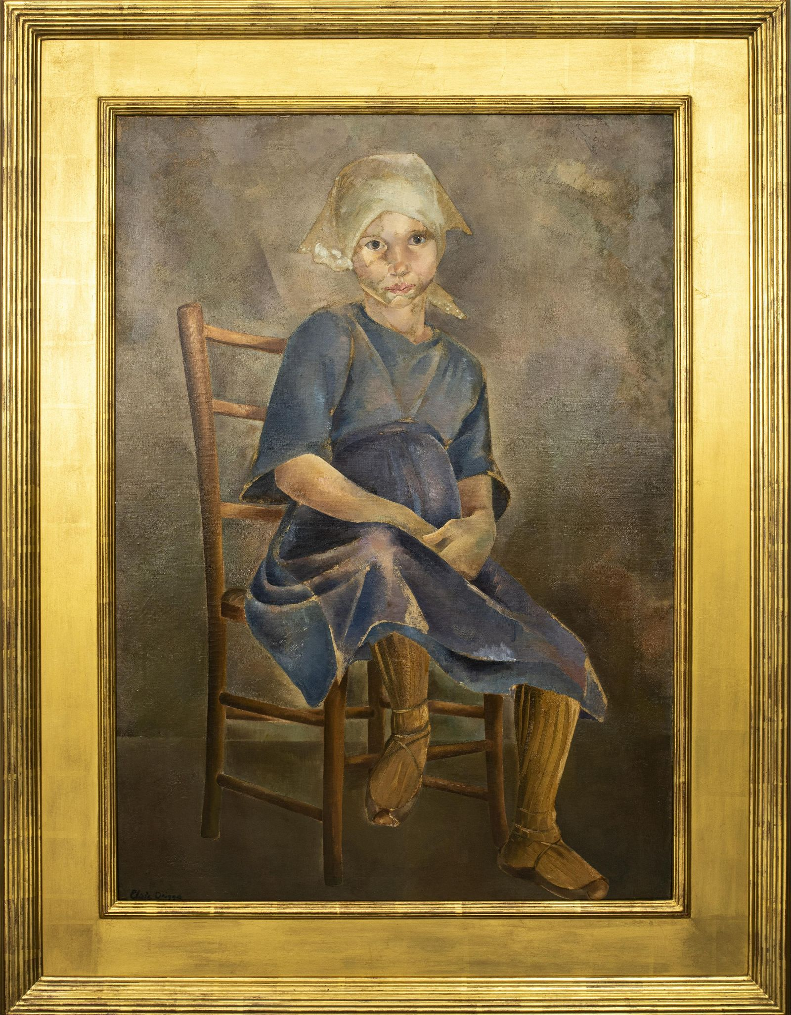 """Elsie Driggs """"Portrait of a Girl"""" Oil on Canvas"""