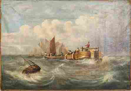 Continental School Maritime Oil on Canvas
