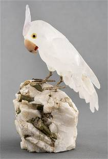Lapidary Carved Mineral Specimen Of A Parrot