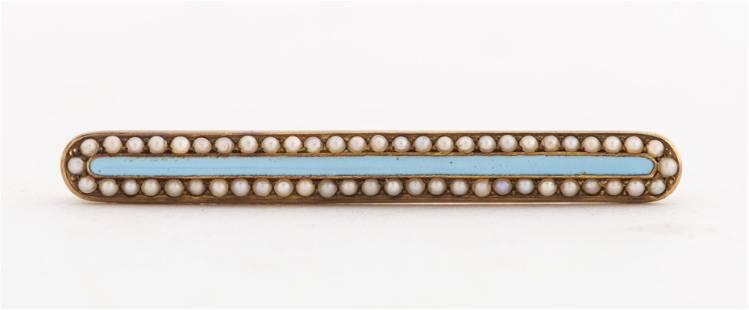 Victorian 14K Gold Seed Pearl Enamel Bar Brooch