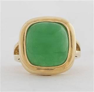 14K Yellow Gold Green Jade Cushion-Cut Ring