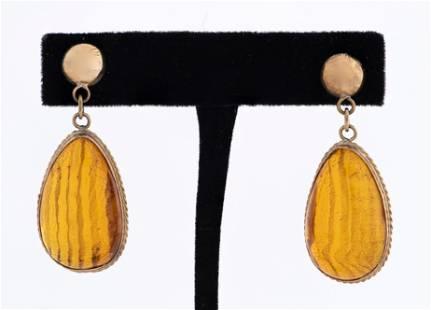 14K Yellow Gold Pear Shaped Drop Amber Earrings