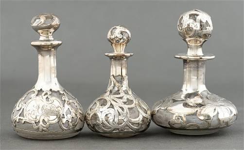 Gorham & O Sterling Silver Overlay Perfume Bottles