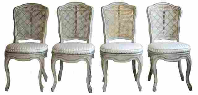 Louis XV Grey Painted Dining Chairs, 4