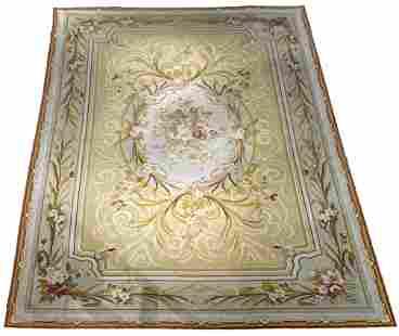 French Aubusson Needlepoint Palace Carpet, 17 x 11