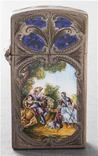 Antique Italian Silver Ornate Enamel Lighter