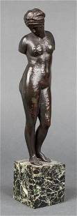 "Neoclassical ""Woman in Turban"" Bronze Sculpture"