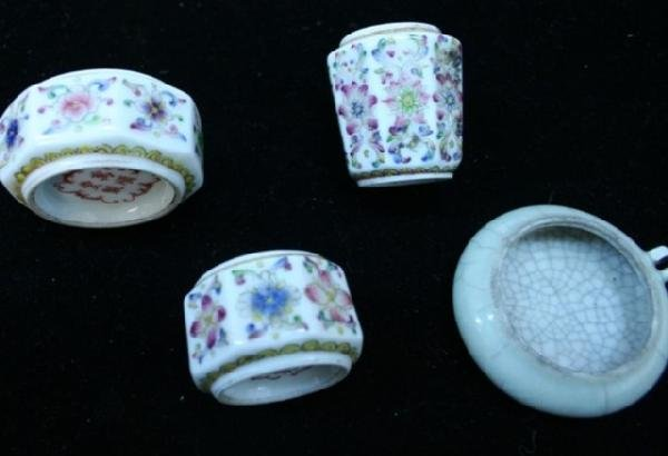 Variety of Four Chinese Porcelain Bird Feeders