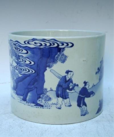 Chinese Blue-&-White Porcelain Scholars Brushpot
