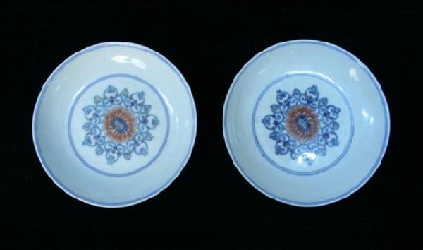 Pair Chinese Porcelain Blue-&-White Floral Plates