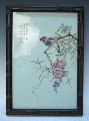 Chinese Framed Porcelain Plaque: Bird & Flowers