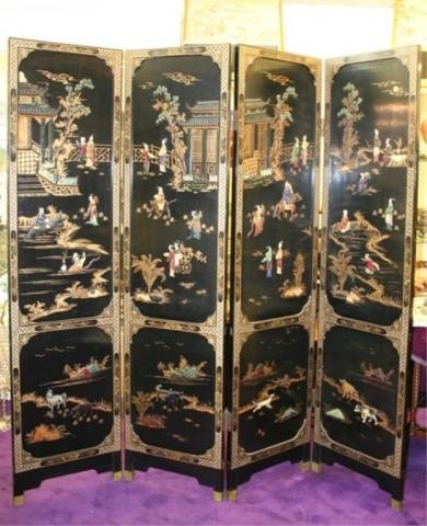 Chinese Black-&-Gold Lacquer Screen Early 20th C.