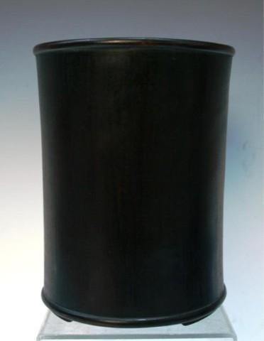 Chinese Carved Zitan Wood Cylindrical Brushpot