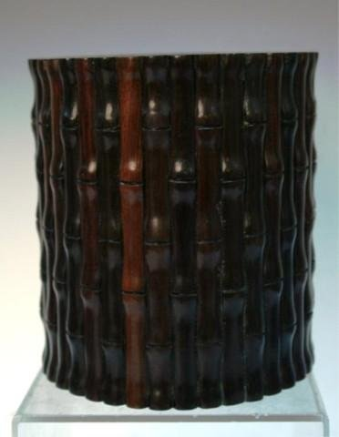 Chinese Wood Carved Brushpot Bamboo Design