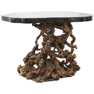 Chinese Modern Console Table With Tree Root Base