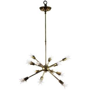 Mid-Century Sputnik Chandelier with Spiked Bulbs