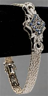 Vintage 14K White Gold Sapphire Filigree Bracelet