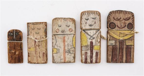 Antique Cradle Kachina Flat Dolls, Group of 5