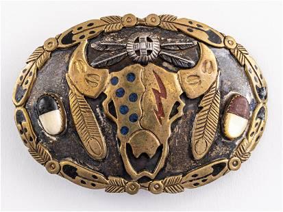 Mitchell Zephier Lakota Native Silver Belt Buckle