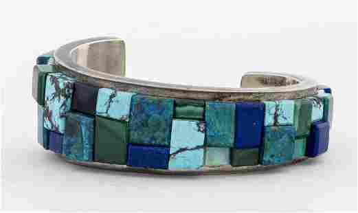Christin Wolf Navajo Silver Multi-Stone Bracelet