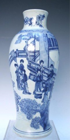 Chinese Blue & White Ming Style Vase 19th C