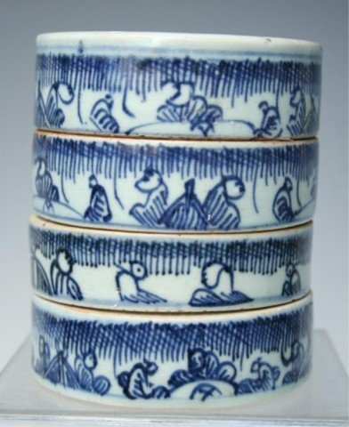 Chinese Blue-&-White Porcelain Stacked Container