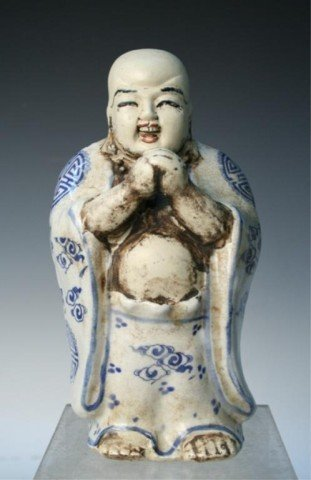 Qing Chinese Blue-&-White Porcelain Luck Figure
