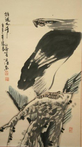 Chinese Neoteric Scroll Painting of Eagle