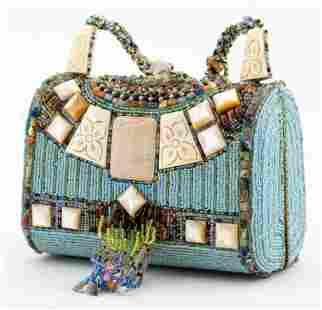 Mary Frances Blue Beaded Shoulder Bag