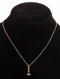 14K Yellow Gold Anchor Pendant On 10K Gold Chain