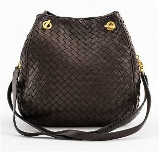 Bottega Veneta Brown Woven Leather Shoulder Bag