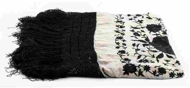 Silk Embroidered Piano Shawl