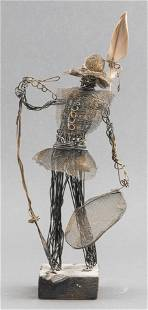 Signed Mixed Metal Sculpture Of A Man With Hat