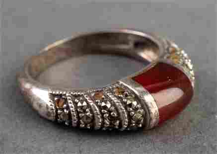 Carnelian & Marcasite Sterling Silver Ring